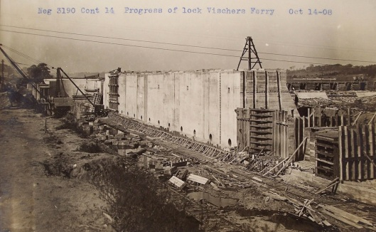 North wall of Lock 7 under construction in Oct 1908. Photograph from the Mycon Collection
