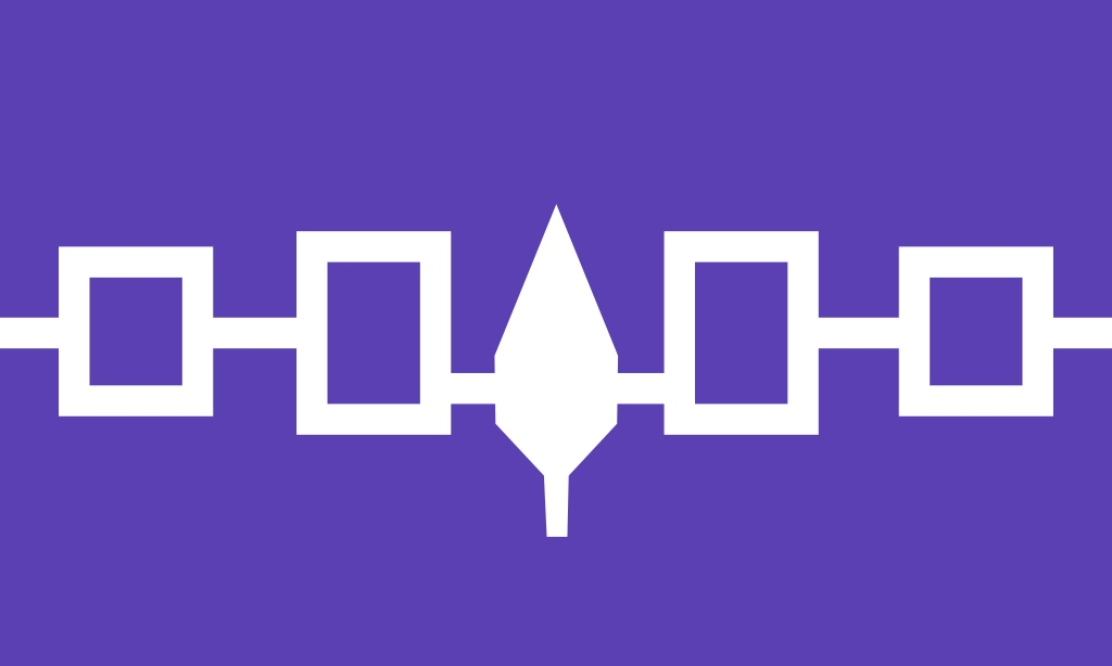 Flag of the Iroquois Confederacy, Hiawatha Belt from Wikipedia